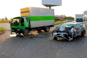 Truck and car after accident